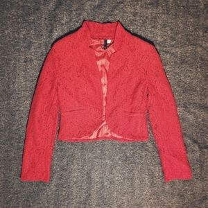 H&M Red Lace Jacket / Blazer by Divided